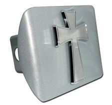 Chrome Cross (Tapered) on Brushed Chrome Hitch Cover Quality Made in the USA!