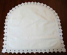 Taie XIXe en fil lin à feston ajouré - pour coussin ou berceau bébé