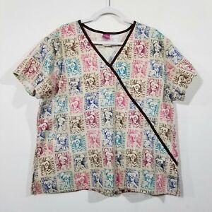 Disney Tan Tinkerbell Phrases Printed Pullover Medical Scrub Top Size XL