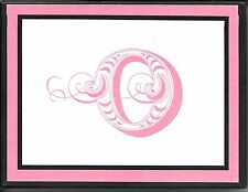"Fancy Letter Initial O ""O"" Hallmark Pink and Black Note Cards - Boxed Set of 10"