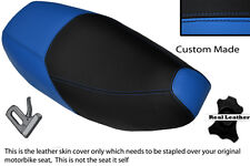 LIGHT BLUE & BLACK CUSTOM FITS PIAGGIO SKIPPER 125 DUAL LEATHER SEAT COVER