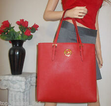 BNWT MICHAEL KORS LG RED QUALITY LEATHER MK SIGNATURE SHOULDER HAND BAG TOTE HOT