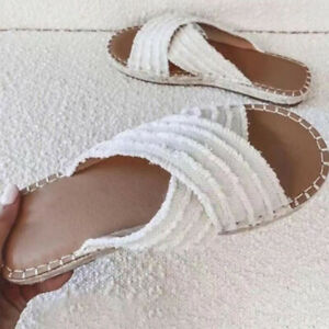 Summer Women Shoes Sandals Denim Flat Soft Bottom Slip On Mule Non-slip Slippers