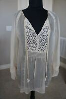 NEW 4 Love & Liberty Johnny Was  Silk & Lace Neck Tie Blouse Top Tunic Ecru S