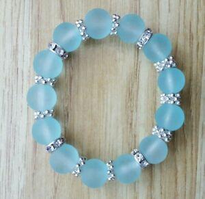 Stunning frosted aqua glass  costume jewellery bracelet