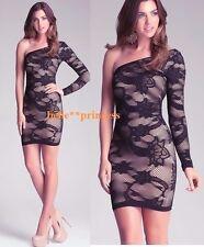 NWT bebe black beige nude one shoulder long sleeve slash bodycon top dress M L