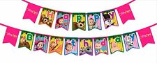 Masha and The Bear - HAPPY BIRTHDAY flag banner.