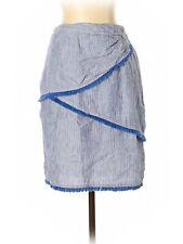J. McLaughlin Blue & White Striped Pencil Skirt w/ Fringe Detail, Size 2