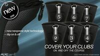 HYBRID HEAD COVERS FULL COMPLETE 2 3 4 5 6 7 SET THICK GOLF CLUB BLACK HEADCOVER