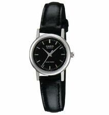 Casio Women's Black Leather Strap Watch, Black Dial, LTP1095E-1A