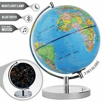 LED Light Up Globe with Bluetooth Speaker, Chrome Base and Detailed World Map -