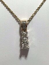 10K YELLOW GOLD TRIO- DIAMONDS PENDANT WITH14K WHITE GOLD 18 INCH CHAIN 0.5CTW