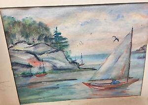 Painting San Juan Mildred H Brown Sailboats Lummi Islands 1950s Watercolor MH