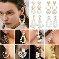 Charm Womens Geometric Pearl Dangle Ear Stud Earrings Bride Wedding Jewellery