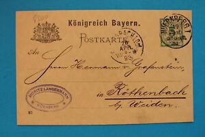Ganzsache Königreich Bayern AK Geschäftspost 1893 Moritz Langermann Nürnberg