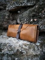 Leather Watch Roll 3 Slot Tawny Organizer Case Travel Storage Pouch Roll Cover