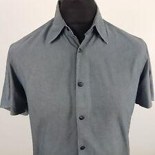 HUGO BOSS Orange Mens Shirt SMALL Short Sleeve Grey Regular Fit Cotton Nylon