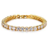 Mens Top Quality Lab Simulated Diamond Hip Hop 14k Gold Tennis Bracelet