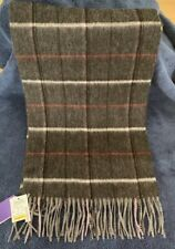 Cashmere Scarf, Charcoal And Red With Fringe