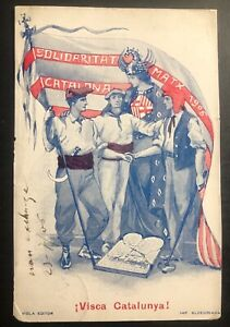 1906 Barcelona Spain Patriotic Postcard Cover To Lanesville Usa live Catalonia !