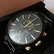 Nixon The Sentry Chrono Black Gold Men's Wrist Watch