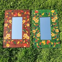 Mirror Glass Wall Hanging Fair Trade Wooden Frame Carved Flowers Green Brown