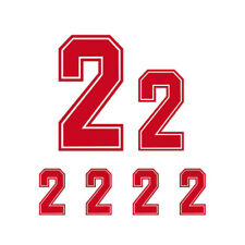 6pcs Red Vinyl Jersey Number Iron-On Heat Transfer Bold Font For Sports Shirt