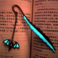 1XLuminous Night Bat Bookmark Label Read Maker Feather BookMark StationerySP
