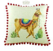"Evans Lichfield Pom Pom Fantasy Llama Square Filled Linen Cushion 43cm 17"""