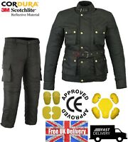 MOTORCYCLE JACKET & TROUSER MOTORBIKE BLACK TEXTILE WATERPROOF SUIT CE ARMOUR