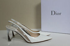 sz 9.5 / 40 Christian Dior White Patent Leather Pointed Toe Slingback Pump Shoes