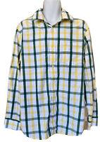 Banana Republic Mens's Button Down Top Shirt Long Sleeve XL Green Yellow Plaid