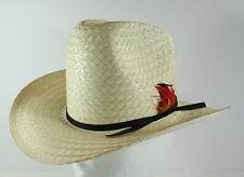 "Bailey U-Rollit Boys Junior Beige Straw Cowboy Rodeo Hat Feathers Sz 6-1/2 20"""