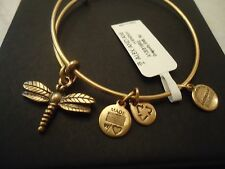 Authentic Alex and Ani DRAGONFLY Russian Gold Charm Bangle New W/Tag Card  & Box