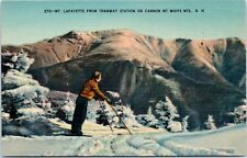 1940s NH Postcard Skier Ski Mt. Lafayette from Tramway Station Cannon White Mts