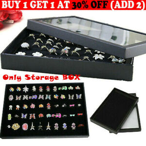 100-slot Jewelry Ring Display Storage Earring Holder Tray Case Organizer Boxes