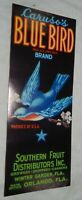 Vintage Unused Label for Caruso's Blue Bird Brand Florida Fruit, Orlando FL