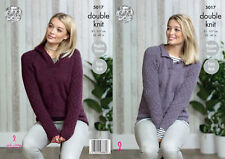 King Cole Ladies Double Knitting Pattern Easy Knit Raglan Sleeve Sweaters 5017