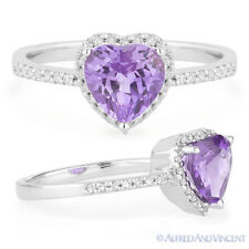Promise Ring 14k White Gold 1.36ct Heart-Shape Amethyst Round Diamond Right-Hand