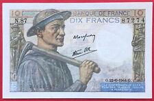 N°76 BILLET BANQUE DE FRANCE 10 FRANCS MINEUR 1944