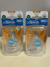 2x Dr. Brown's Options+ Level 2 Teats with Wide Neck 3m+ Silicone Teats