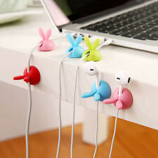 3Pc Rabbit Cable Drop Clip Desk Tidy Organizer Cord Lead USB Charger Wire Holder