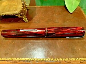 Waterman Thorobred 3V 32V Fountain Pen Red Marble Green Veins 14K Gold Nib
