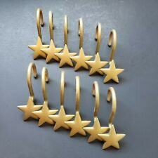 Gold Colored Star Shaped Metal Shower Curtin Hooks - Set of 12