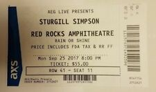 Sturgill Simpson Ticket Stub 9/25/2017 Red Rock Excellent condition Cool Momento