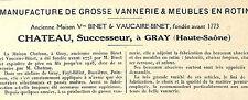 70 GRAY MANUFACTURE DE VANNERIE & MEUBLES EN ROTIN CHATEAU PETIT ADP 1929