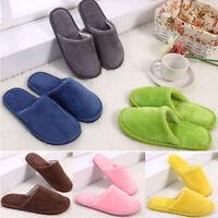 Women Men Flat Slippers Velvet Plush Solid Shoes Home Indoor Warm Winter Casual
