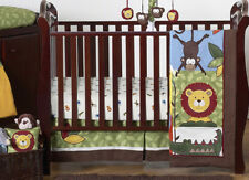 Bright Modern Monkey Giraffe Jungle Themed Bumperless Baby Boy Crib Bedding Set