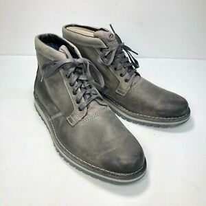 New Clarks J Varby Dark Grey Leather Round Toe Lace Mens Ankle Boots Sz 11.5M