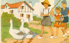 LOT de 10 cartes illustrées Jeux Occupations d'enfants Dos avec différentes pub